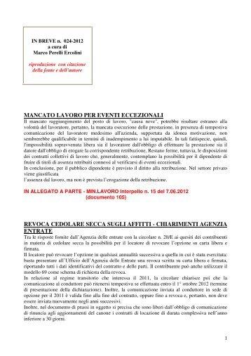 scarica le brevia num° 24 del 2012 - PERELLIERCOLINI.it