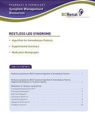 RESTLESS LEG SYNDROME - BC Renal Agency