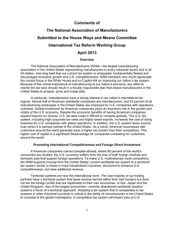 NAM Comments to International Tax Reform Working Group