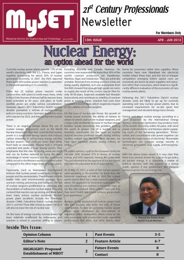 Issue 13 : April - June 2012 - malaysian society for engineering and ...