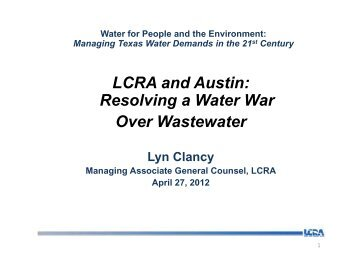LCRA and Austin: Resolving a Water War Over Wastewater