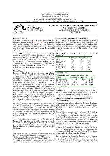 196 ko - Institut national de la statistique malgache (INSTAT)
