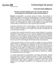 Ericsson choisit le Québec pour son nouveau centre de ... - Finances