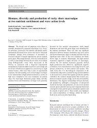 Biomass, diversity and production of rocky shore macroalgae at two ...