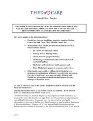 Notice of Privacy Practices THIS NOTICE DESCRIBES ... - ThedaCare