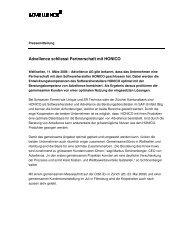 Pressemitteilung Advellence schliesst Partnerschaft mit HONICO ab