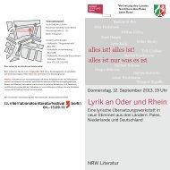 Invitation Lyrik an Oder und Rhein