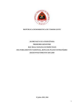 Alokusaun husi S.E. Primeiru-Ministru Kay Rala Xanana Gusmão nian