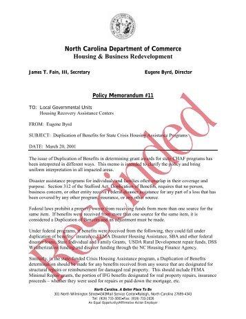 Memo#11 - North Carolina Department of Public Safety