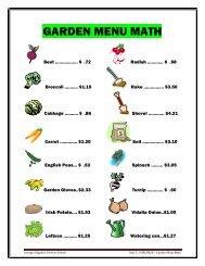 Activity – Garden Menu Math Worksheets - Georgia Organics