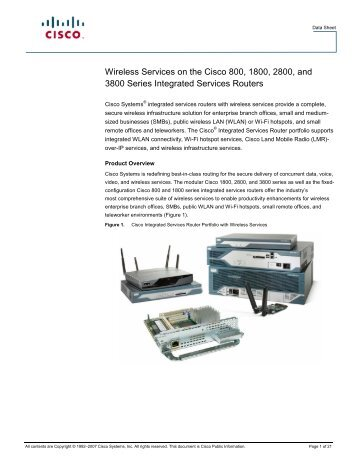 Wireless Services on the Cisco 800, 1800, 2800, and 3800 Series ...