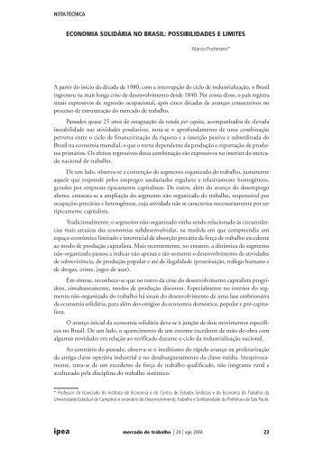 economia solidária no brasil: possibilidades e limites - EMPREENDE