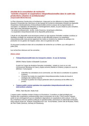 rsultat de la consultation de recherche - Ramau