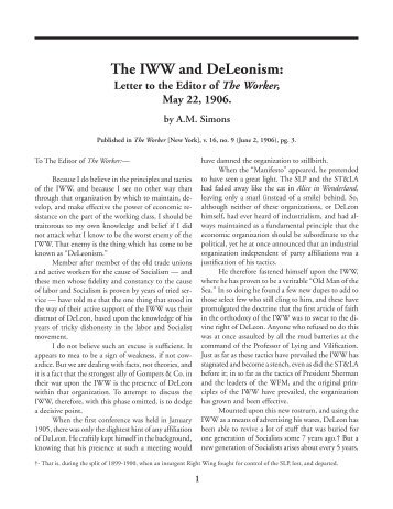 The IWW and DeLeonism: