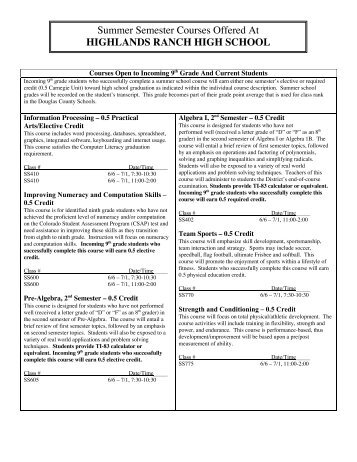 Summer Semester Courses Offered At HIGHLANDS RANCH HIGH ...