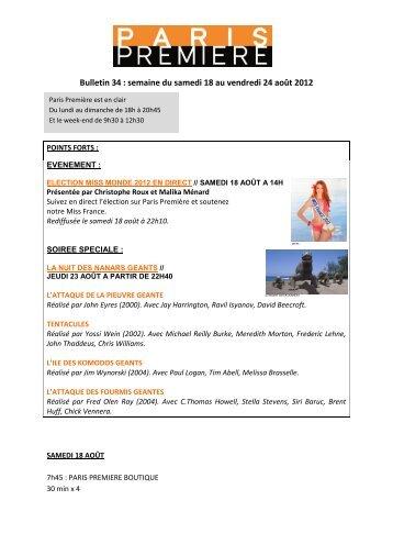 Bulletin 34 : semaine du samedi 18 au vendredi 24 ... - Groupe M6