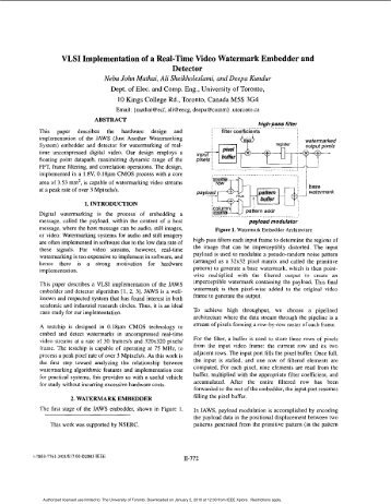 VLSI implementation of a real-time video watermark embedder and ...