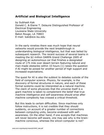Artificial and Biological Intelligence - Oklahoma State University ...