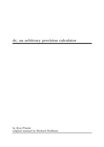 dc, an arbitrary precision calculator