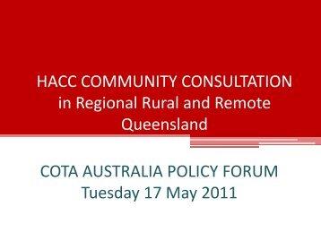 HACC Community Consultation in Regional and Remote ... - Cota