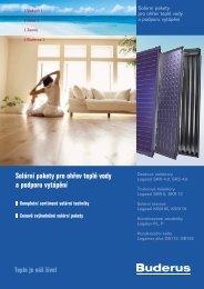 Solární pakety pro ohřev teplé vody a podporu vytápění - Buderus