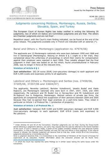 Judgments concerning Moldova, Montenegro, Russia, Serbia ...