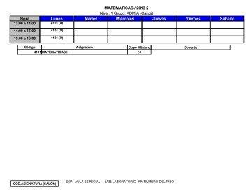 Nivel: 1 Grupo: ADM A (Cajicá) MATEMATICAS / 2013 2 Hora Lunes ...