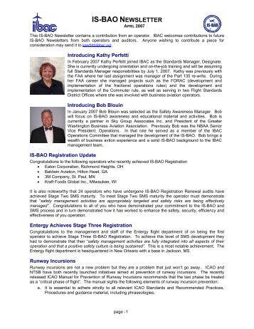 April 2007 - International Business Aviation Council