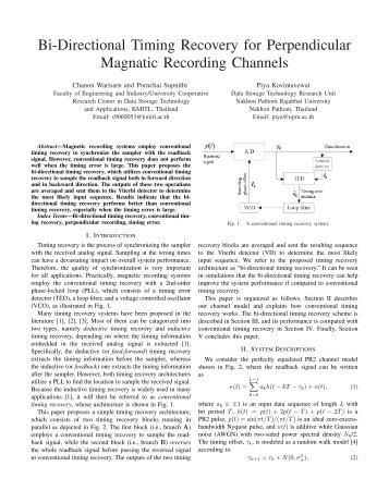 Bi-Directional Timing Recovery for Perpendicular Magnatic ...