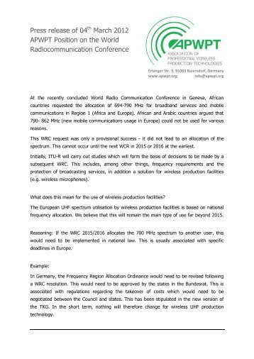 APWPT Position on the World Radiocommunication Conference 2012