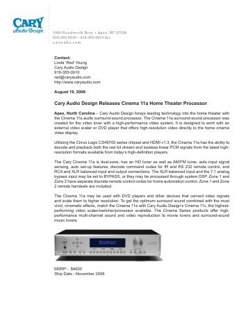 Cary Audio Design Releases Cinema 11a Home Theater Processor