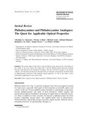 Phthalocyanines and Phthalocyanine Analogues - Cluster for ...