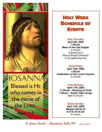 HOLY WEEK SCHEDULE OF EVENTS - St. James
