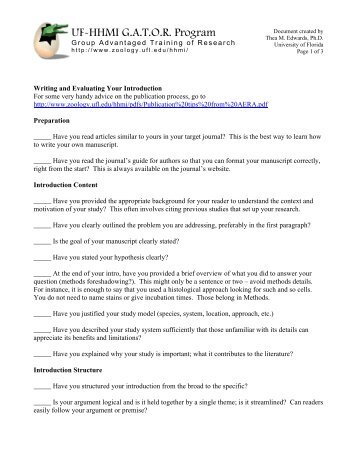 Writing your introduction - a self-evaluation tool - University of Florida