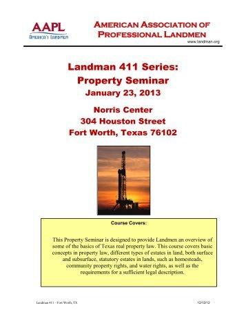 Property Seminar - American Association of Professional Landmen
