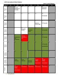 ACG International School Jakarta Term 1 and 2 Planner
