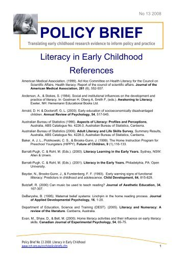 Literacy in Early Childhood References