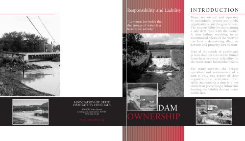 ASDSO Flyer on Dam Ownership Responsibility and Liability