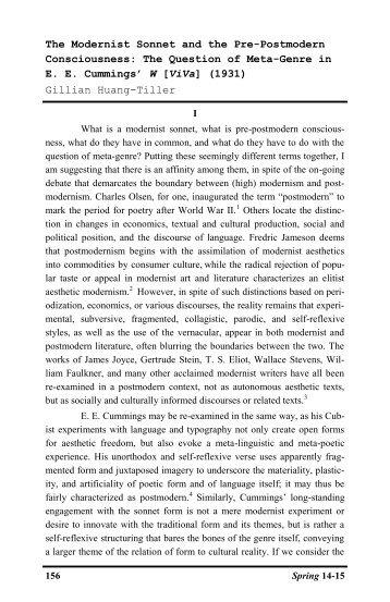 The Question of Meta-Genre in EE Cummings - Gvsu