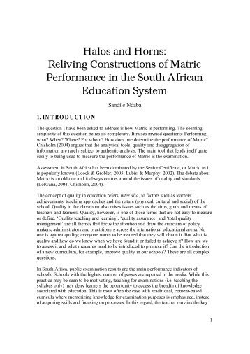 Halos and Horns: Reliving Constructions of Matric ... - Umalusi