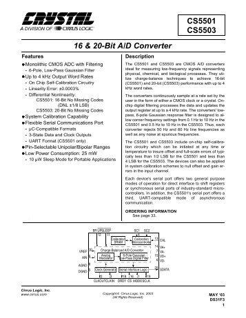 CS5501 CS5503 16 & 20-Bit A/D Converter - Alsa