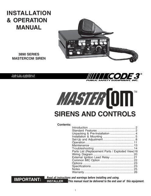 Sirens And Controls Code 3 Public Safety Equipment