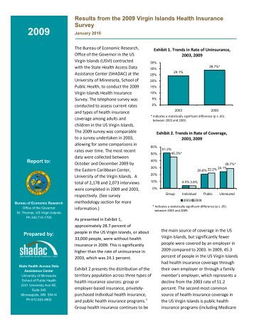 Results from the 2009 Virgin Islands Health Insurance ... - Shadac