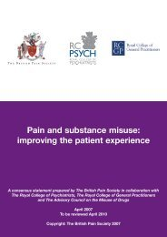 Pain and substance misuse: improving the patient experience