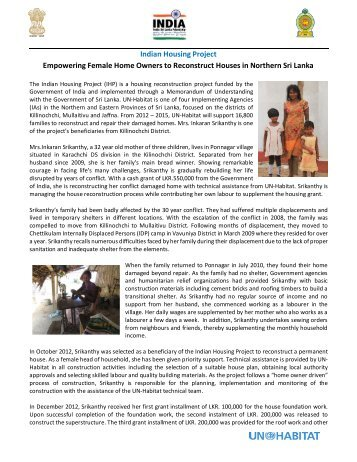 Empowering Female Home Owners to Reconstruct ... - UN HABITAT