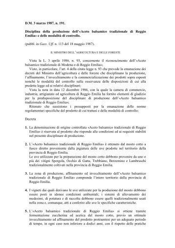 Aceto balsamico tradizionale di Reggio Emilia - Ismea
