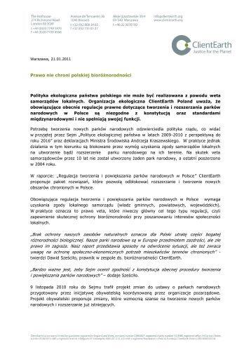 """Prawo nie chroni polskiej bioróżnorodności """"Brak ... - ClientEarth"""