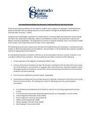 Documentation Guidelines for Autism/ Asperger - Colorado State ...