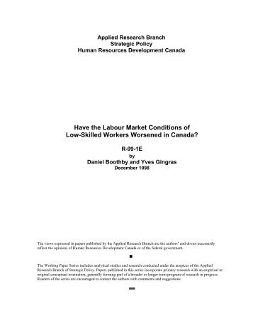 Have the Labour Market Conditions of Low-Skilled Workers ... - UQAC