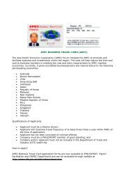 APEC BUSINESS TRAVEL CARD (ABTC) The Asia Pacific ...